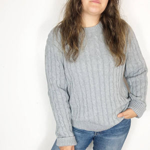 L.L. BEAN Gray Chunky Cable Knit Sweater Crew Neck